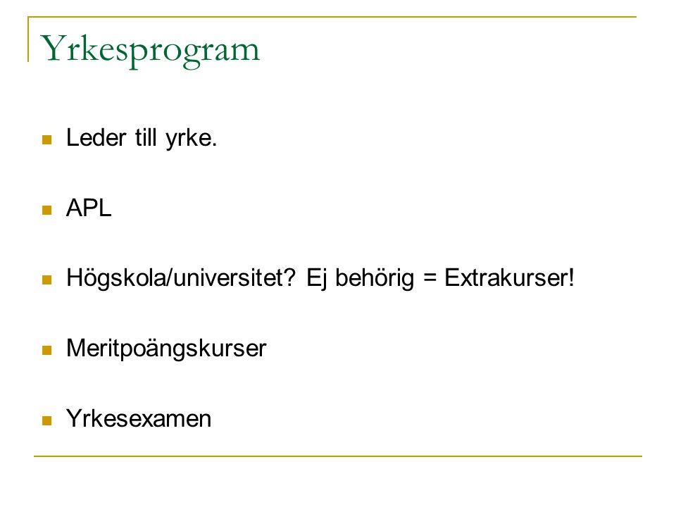 Yrkesprogram Leder till yrke. APL Högskola/universitet? Ej behörig = Extrakurser! Meritpoängskurser Yrkesexamen