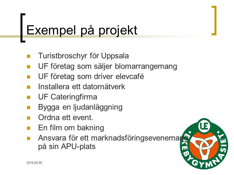 2014-09-0611 Exempel på projekt Turistbroschyr för Uppsala UF företag som säljer blomarrangemang UF företag som driver elevcafé Installera ett datornätverk UF Cateringfirma Bygga en ljudanläggning Ordna ett event.