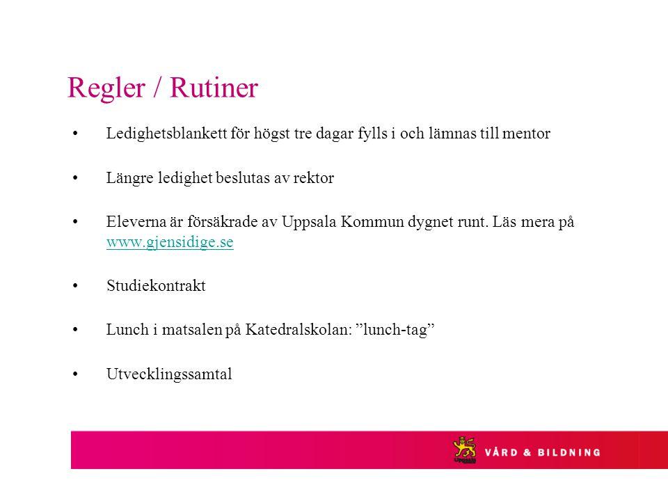 Regler / Rutiner Ledighetsblankett för högst tre dagar fylls i och lämnas till mentor Längre ledighet beslutas av rektor Eleverna är försäkrade av Uppsala Kommun dygnet runt.