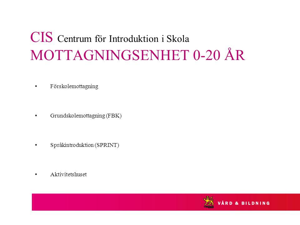 CIS Centrum för Introduktion i Skola MOTTAGNINGSENHET 0-20 ÅR Förskolemottagning Grundskolemottagning (FBK) Språkintroduktion (SPRINT) Aktivitetshuset