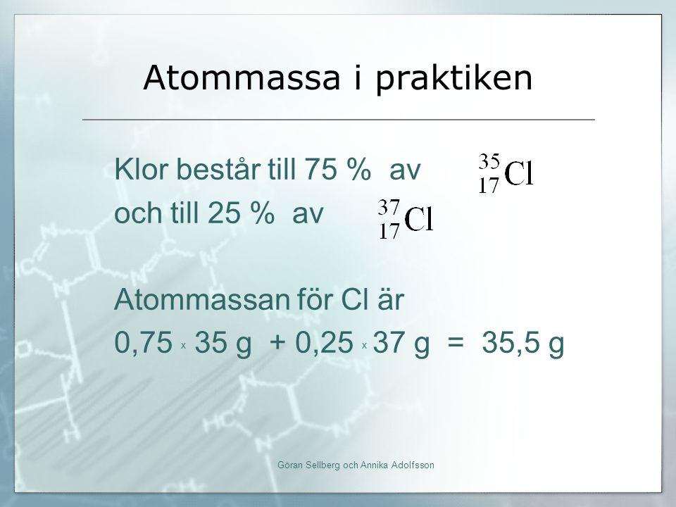 Atommassa i praktiken Göran Sellberg och Annika Adolfsson Klor består till 75 % av och till 25 % av Atommassan för Cl är 0,75 x 35 g + 0,25 x 37 g = 35,5 g