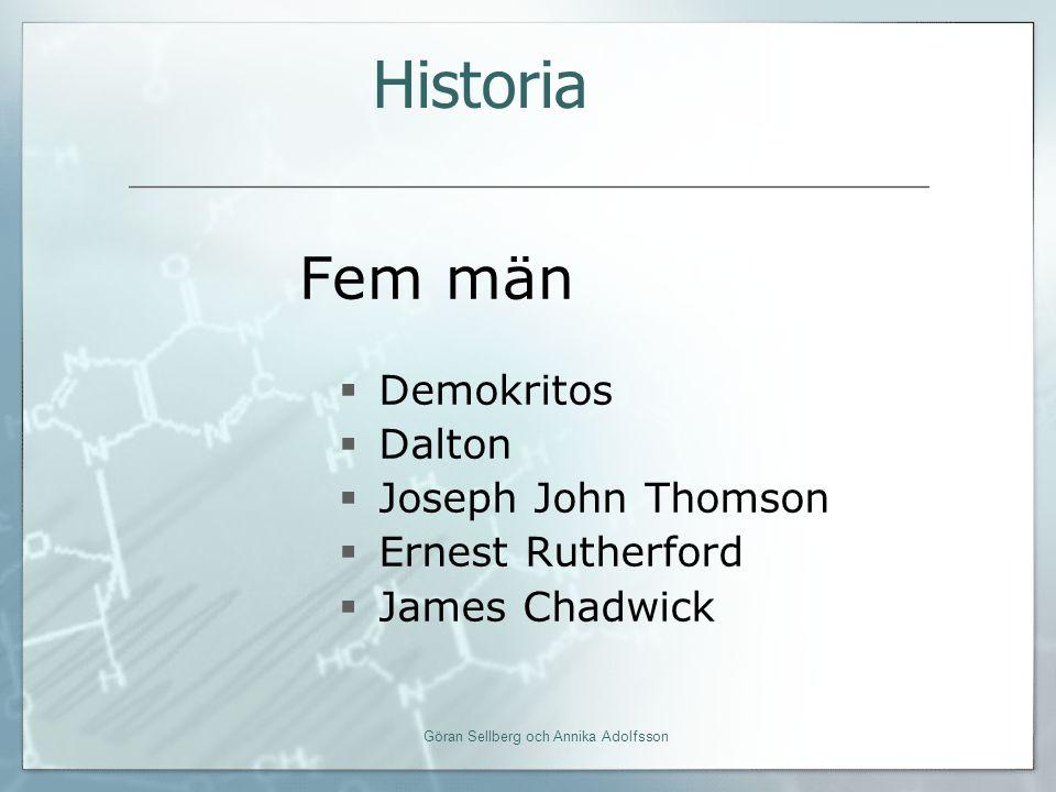 Fem män  Demokritos  Dalton  Joseph John Thomson  Ernest Rutherford  James Chadwick Historia Göran Sellberg och Annika Adolfsson