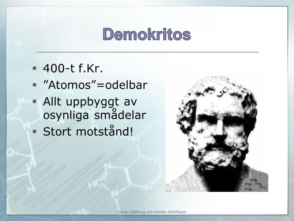  400-t f.Kr. Atomos =odelbar  Allt uppbyggt av osynliga smådelar  Stort motstånd.