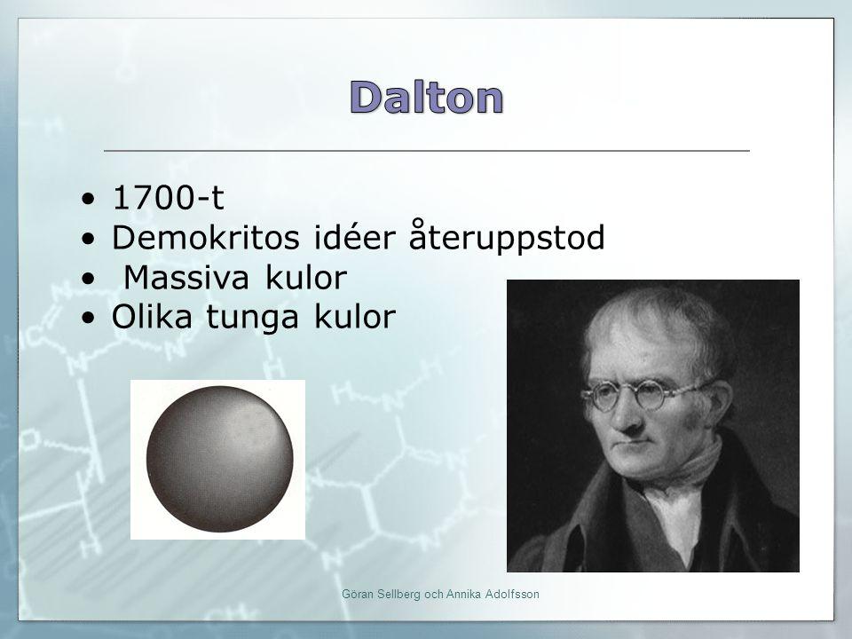 Att rita en atom enligt Bohrs atommodell O 8 16 atomnummer masstal Antal neutroner = masstal – atomnummer Dvs 16 – 8 = 8 Göran Sellberg och Annika Adolfsson