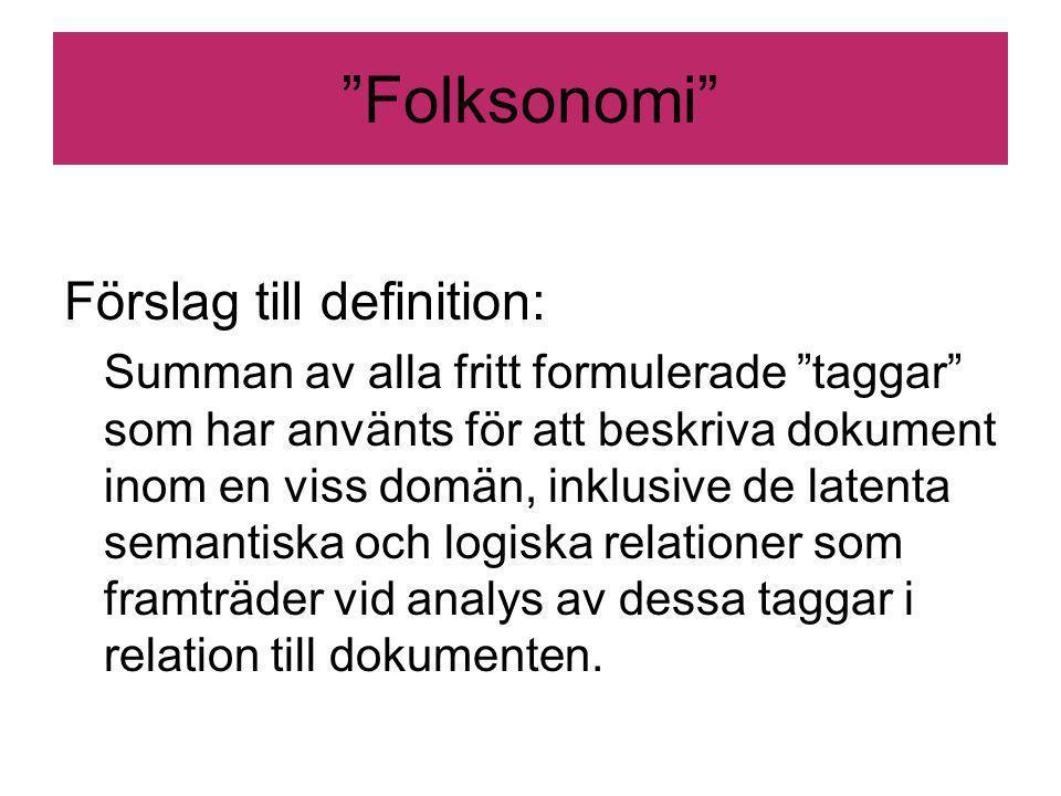 Folksonomi Förslag till definition: Summan av alla fritt formulerade taggar som har använts för att beskriva dokument inom en viss domän, inklusive de latenta semantiska och logiska relationer som framträder vid analys av dessa taggar i relation till dokumenten.