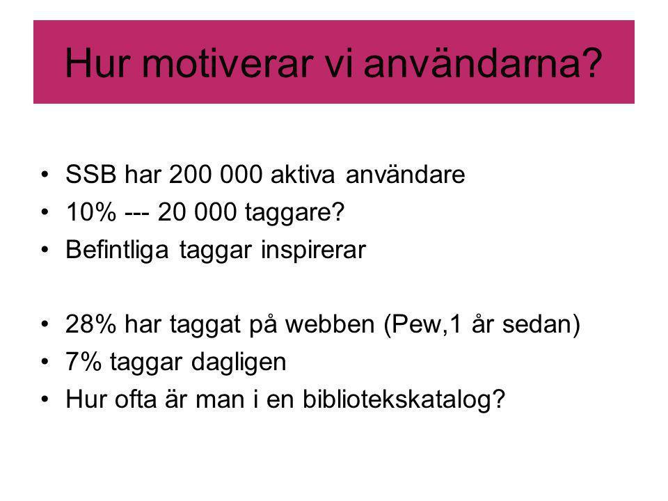 Hur motiverar vi användarna. SSB har 200 000 aktiva användare 10% --- 20 000 taggare.