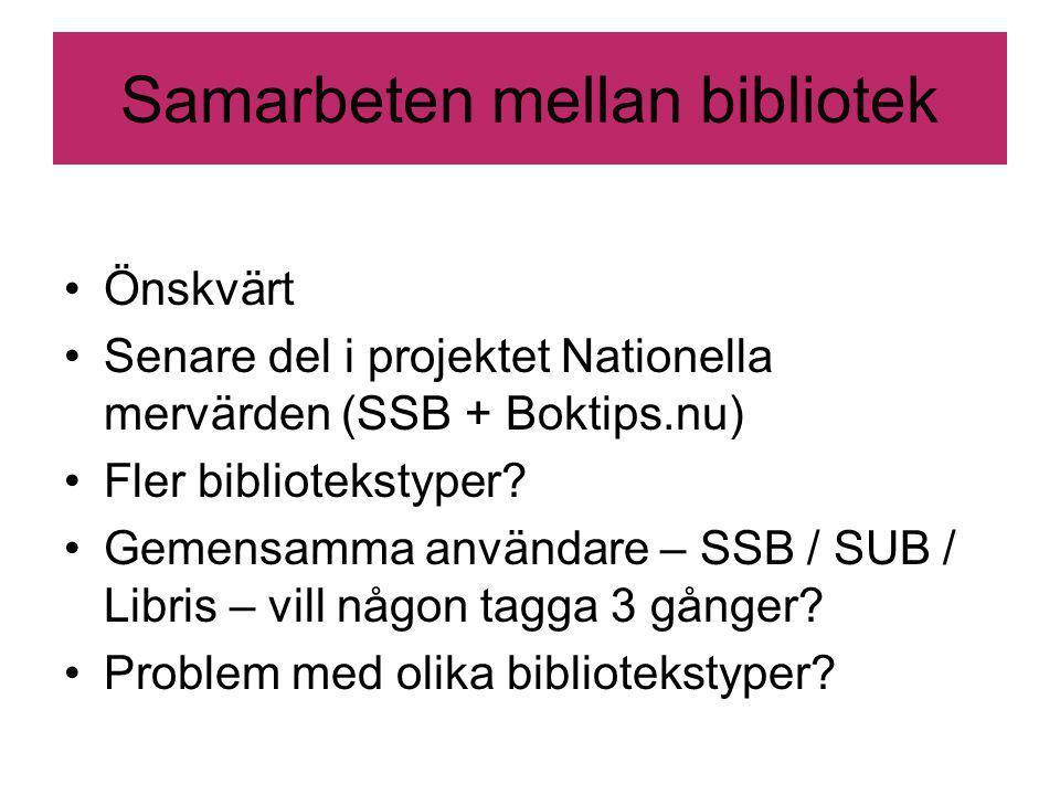 Samarbeten mellan bibliotek Önskvärt Senare del i projektet Nationella mervärden (SSB + Boktips.nu) Fler bibliotekstyper.