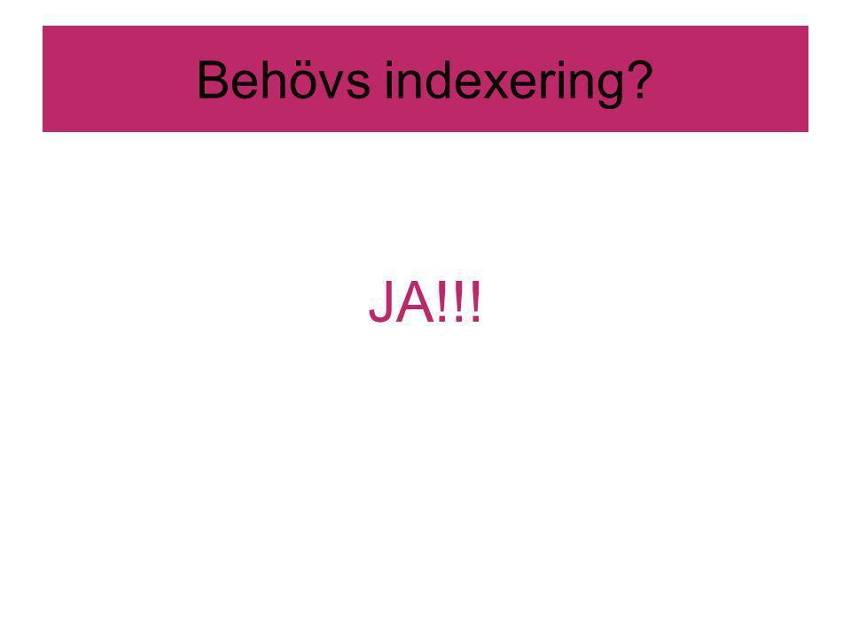 Behövs indexering JA!!!