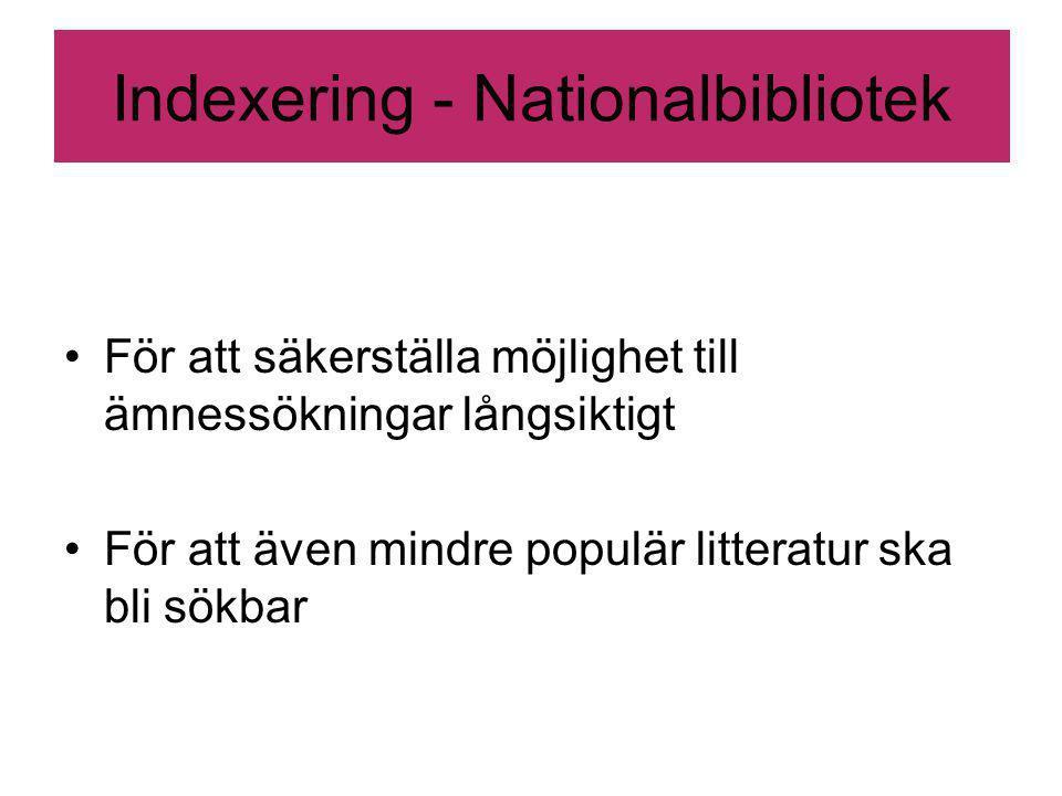 Indexering - Nationalbibliotek För att säkerställa möjlighet till ämnessökningar långsiktigt För att även mindre populär litteratur ska bli sökbar