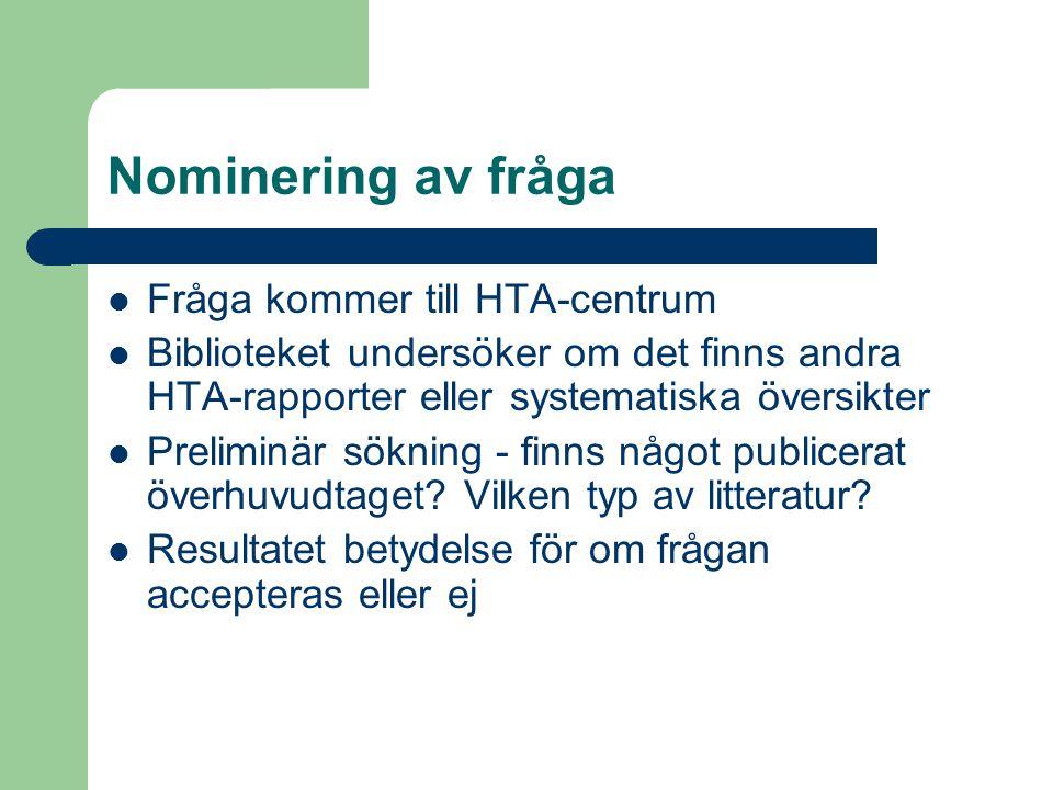 Nominering av fråga Fråga kommer till HTA-centrum Biblioteket undersöker om det finns andra HTA-rapporter eller systematiska översikter Preliminär sök