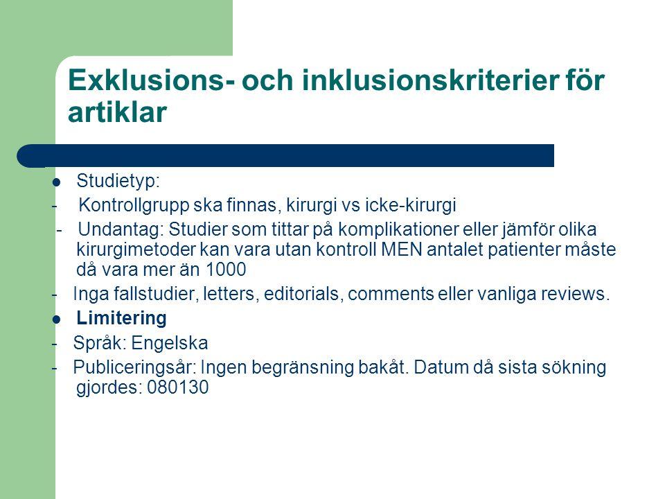 Exklusions- och inklusionskriterier för artiklar Studietyp: - Kontrollgrupp ska finnas, kirurgi vs icke-kirurgi - Undantag: Studier som tittar på komp