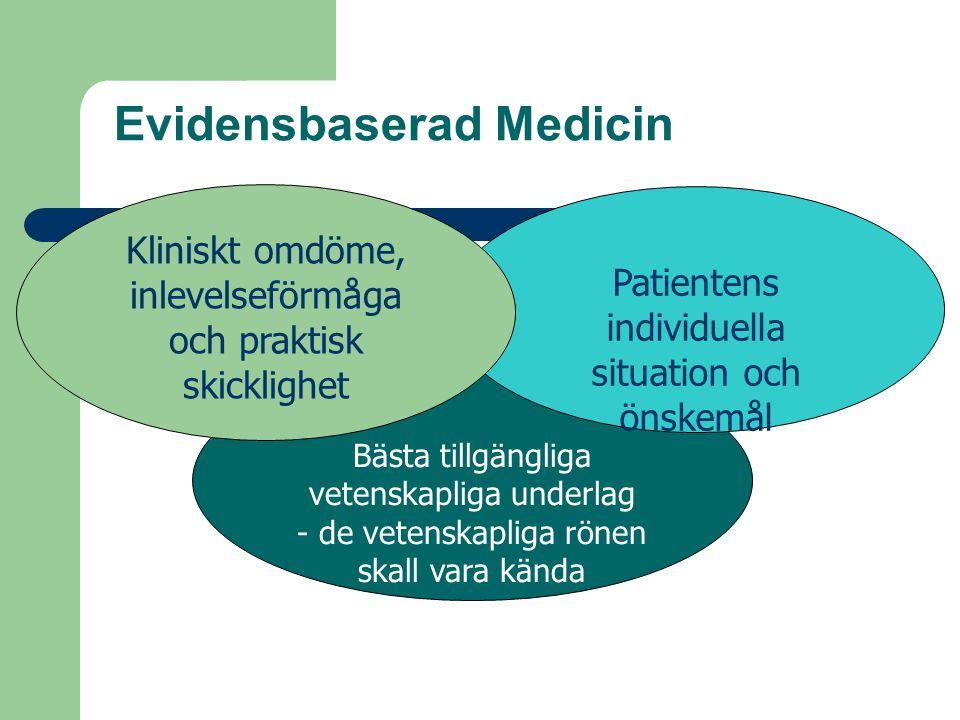 Evidensbaserad Medicin Bästa tillgängliga vetenskapliga underlag - de vetenskapliga rönen skall vara kända Patientens individuella situation och önske