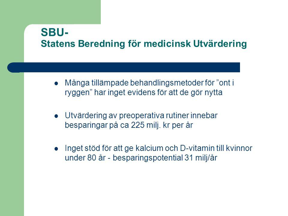 """SBU- Statens Beredning för medicinsk Utvärdering Många tillämpade behandlingsmetoder för """"ont i ryggen"""" har inget evidens för att de gör nytta Utvärde"""