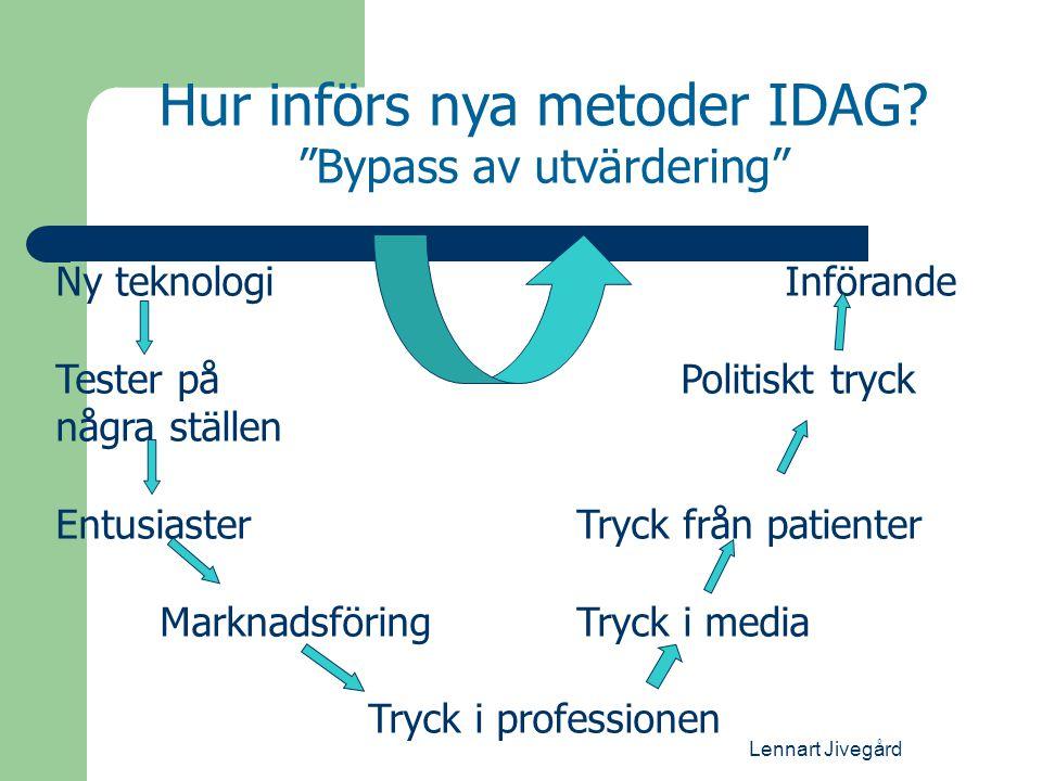 """Lennart Jivegård Hur införs nya metoder IDAG? """"Bypass av utvärdering"""" Ny teknologiInförande Tester på Politiskt tryck några ställen EntusiasterTryck f"""