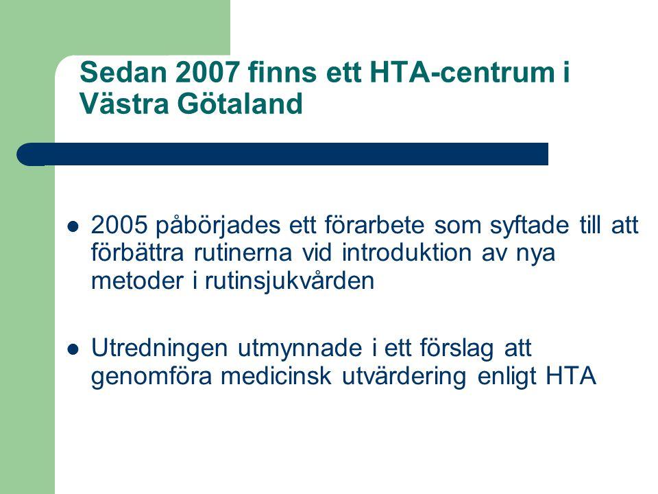 Sedan 2007 finns ett HTA-centrum i Västra Götaland 2005 påbörjades ett förarbete som syftade till att förbättra rutinerna vid introduktion av nya meto