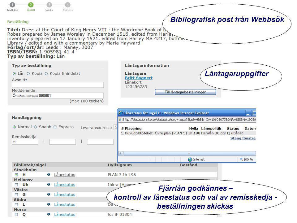 www.kb.se Fjärrlån godkännes – kontroll av lånestatus och val av remisskedja - beställningen skickas Bibliografisk post från Webbsök Låntagaruppgifter