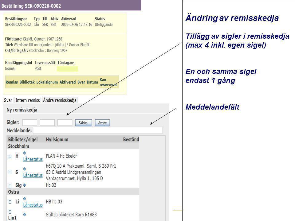 www.kb.se Ändring av remisskedja Tillägg av sigler i remisskedja (max 4 inkl. egen sigel) En och samma sigel endast 1 gång Meddelandefält