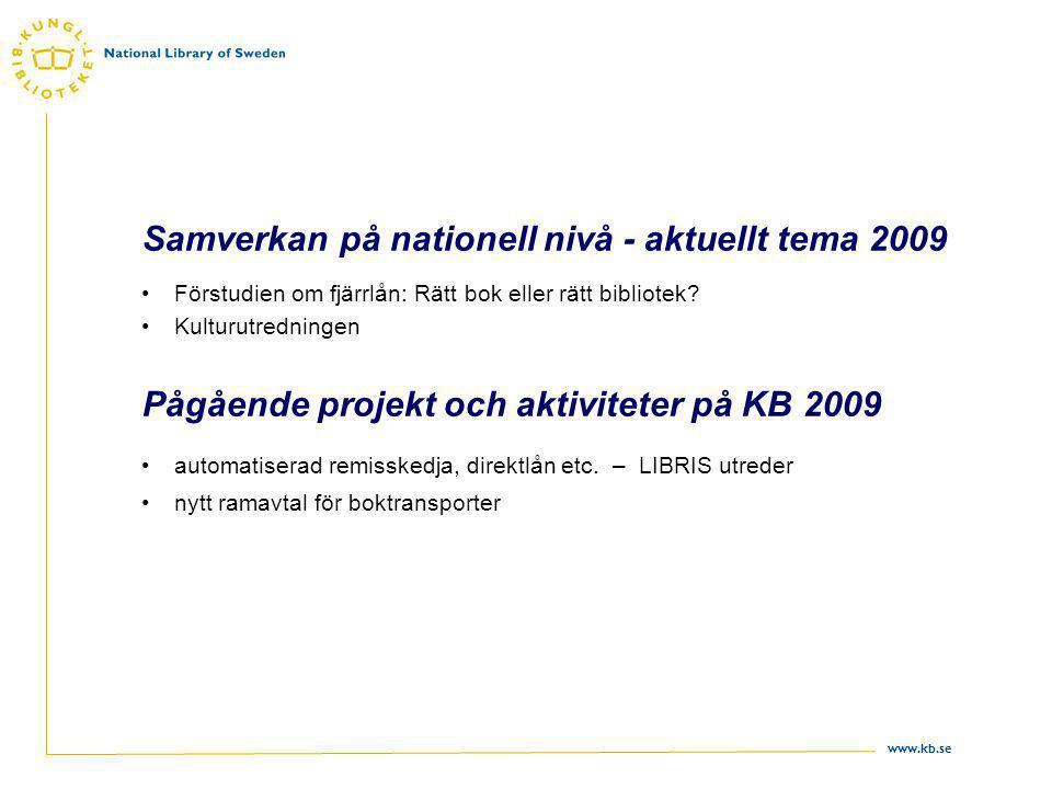 www.kb.se Samverkan på nationell nivå - aktuellt tema 2009 Förstudien om fjärrlån: Rätt bok eller rätt bibliotek.