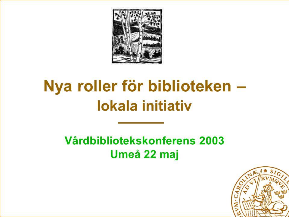 Nya roller för biblioteken – lokala initiativ Vårdbibliotekskonferens 2003 Umeå 22 maj