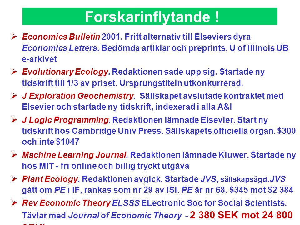 Forskarinflytande !  Economics Bulletin 2001. Fritt alternativ till Elseviers dyra Economics Letters. Bedömda artiklar och preprints. U of Illinois U