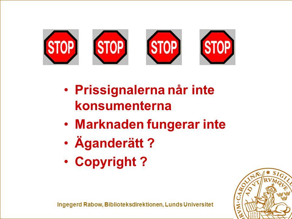 Ingegerd Rabow, Biblioteksdirektionen, Lunds Universitet Prissignalerna når inte konsumenterna Marknaden fungerar inte Äganderätt ? Copyright ?