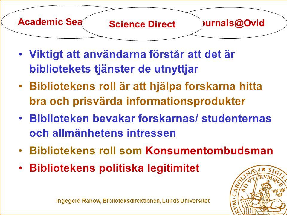 Ingegerd Rabow, Biblioteksdirektionen, Lunds Universitet Biblioteken blir osynliga Viktigt att användarna förstår att det är bibliotekets tjänster de utnyttjar Bibliotekens roll är att hjälpa forskarna hitta bra och prisvärda informationsprodukter Biblioteken bevakar forskarnas/ studenternas och allmänhetens intressen Bibliotekens roll som Konsumentombudsman Bibliotekens politiska legitimitet Academic Search Elite Journals@Ovid Science Direct