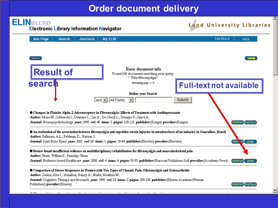 Ingegerd Rabow, Biblioteksdirektionen, Lunds Universitet Order document delivery Full-text not available Result of search