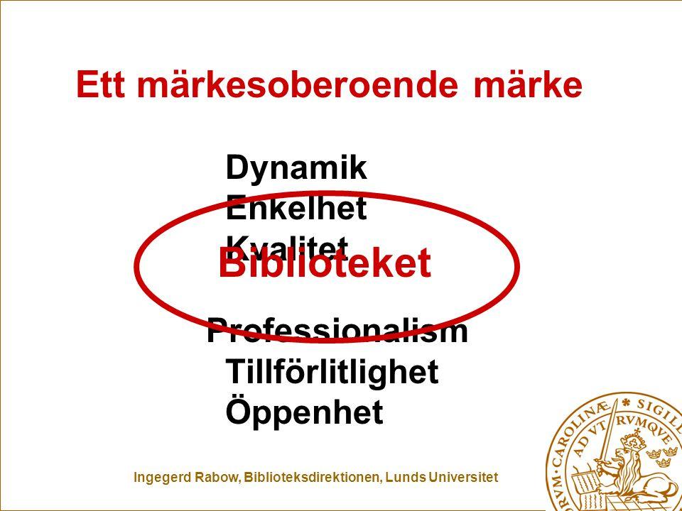 Ingegerd Rabow, Biblioteksdirektionen, Lunds Universitet Dynamik Enkelhet Kvalitet Professionalism Tillförlitlighet Öppenhet Ett märkesoberoende märke Biblioteket Märkesob märke