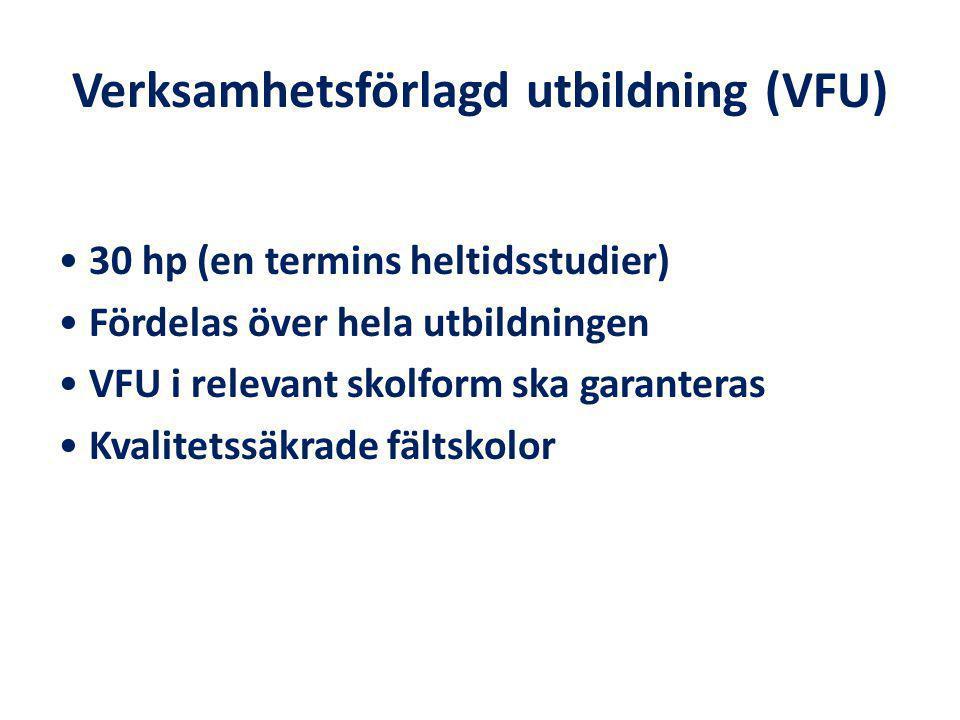 Verksamhetsförlagd utbildning (VFU) 30 hp (en termins heltidsstudier) Fördelas över hela utbildningen VFU i relevant skolform ska garanteras Kvalitetssäkrade fältskolor