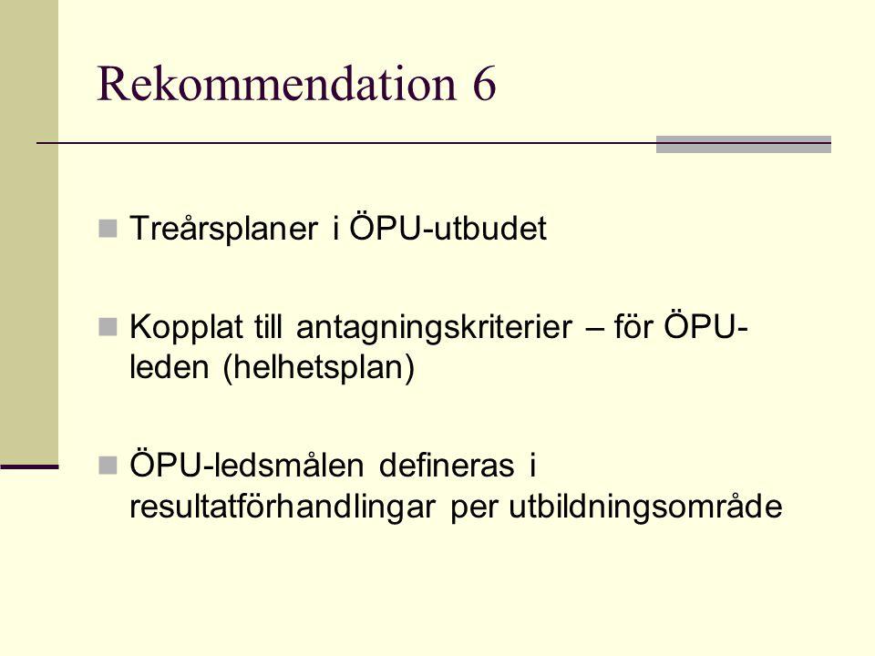 Rekommendation 7 ÖPU- utbudet utgår från universitetets profil Samarbete på nationell nivå uppmuntras Samarbetet koordineras av Avoin foorumi /Öppet forum