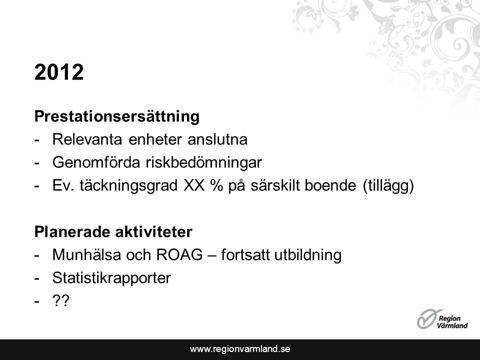 www.regionvarmland.se 2012 Prestationsersättning -Relevanta enheter anslutna -Genomförda riskbedömningar -Ev.