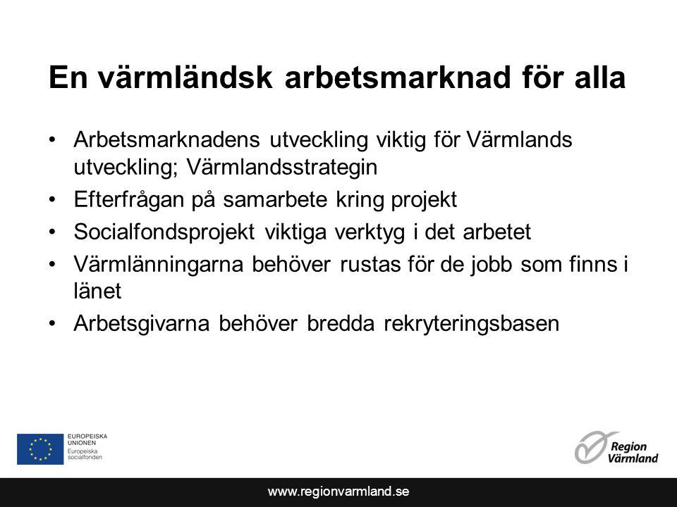 www.regionvarmland.se En värmländsk arbetsmarknad för alla Arbetsmarknadens utveckling viktig för Värmlands utveckling; Värmlandsstrategin Efterfrågan på samarbete kring projekt Socialfondsprojekt viktiga verktyg i det arbetet Värmlänningarna behöver rustas för de jobb som finns i länet Arbetsgivarna behöver bredda rekryteringsbasen