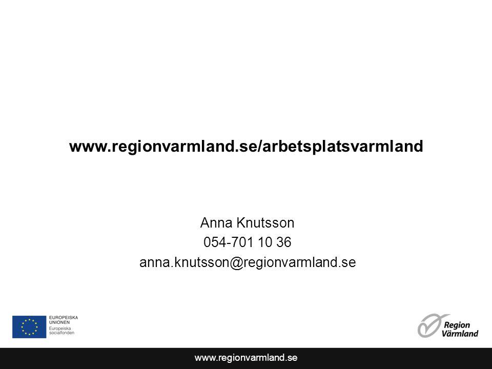 www.regionvarmland.se www.regionvarmland.se/arbetsplatsvarmland Anna Knutsson 054-701 10 36 anna.knutsson@regionvarmland.se
