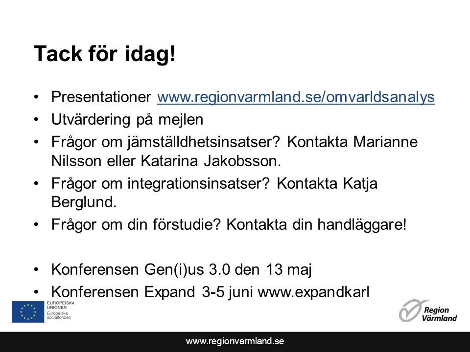 www.regionvarmland.se Tack för idag.