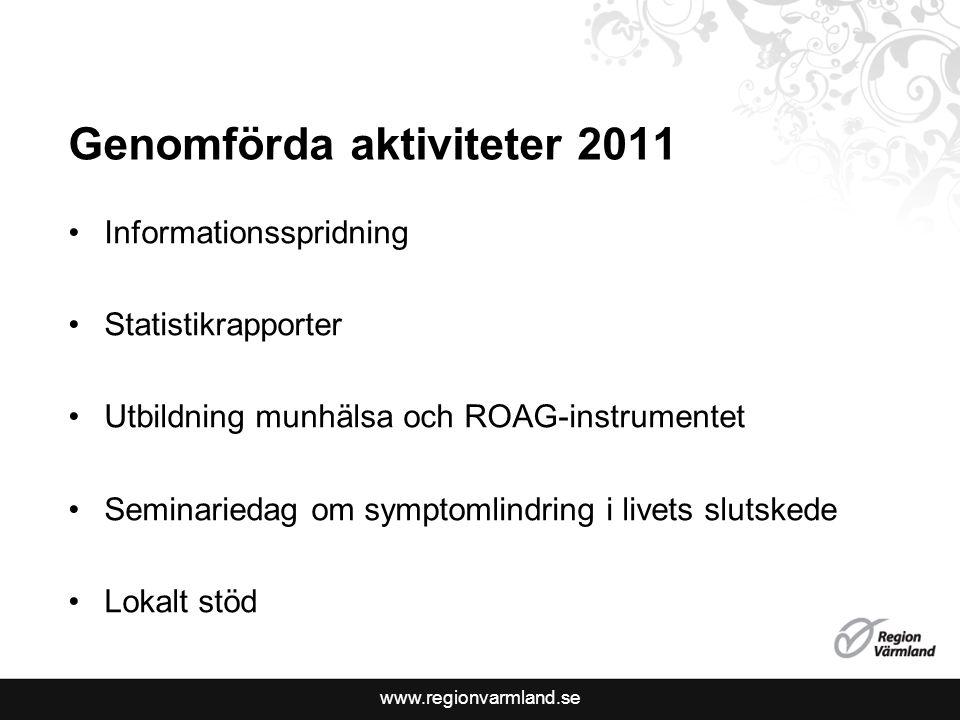 www.regionvarmland.se 2012 Prestationsersättning -Täckningsgrad 70 % -Brytpunktssamtal 70 % Planerade aktiviteter -Munhälsa och ROAG – fortsatt utbildning -Statistikrapporter -Utbildningsinsatser till läkare -??