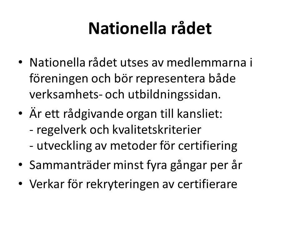 Nationella rådet Nationella rådet utses av medlemmarna i föreningen och bör representera både verksamhets- och utbildningssidan. Är ett rådgivande org