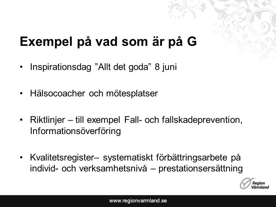 """Exempel på vad som är på G Inspirationsdag """"Allt det goda"""" 8 juni Hälsocoacher och mötesplatser Riktlinjer – till exempel Fall- och fallskadepreventio"""