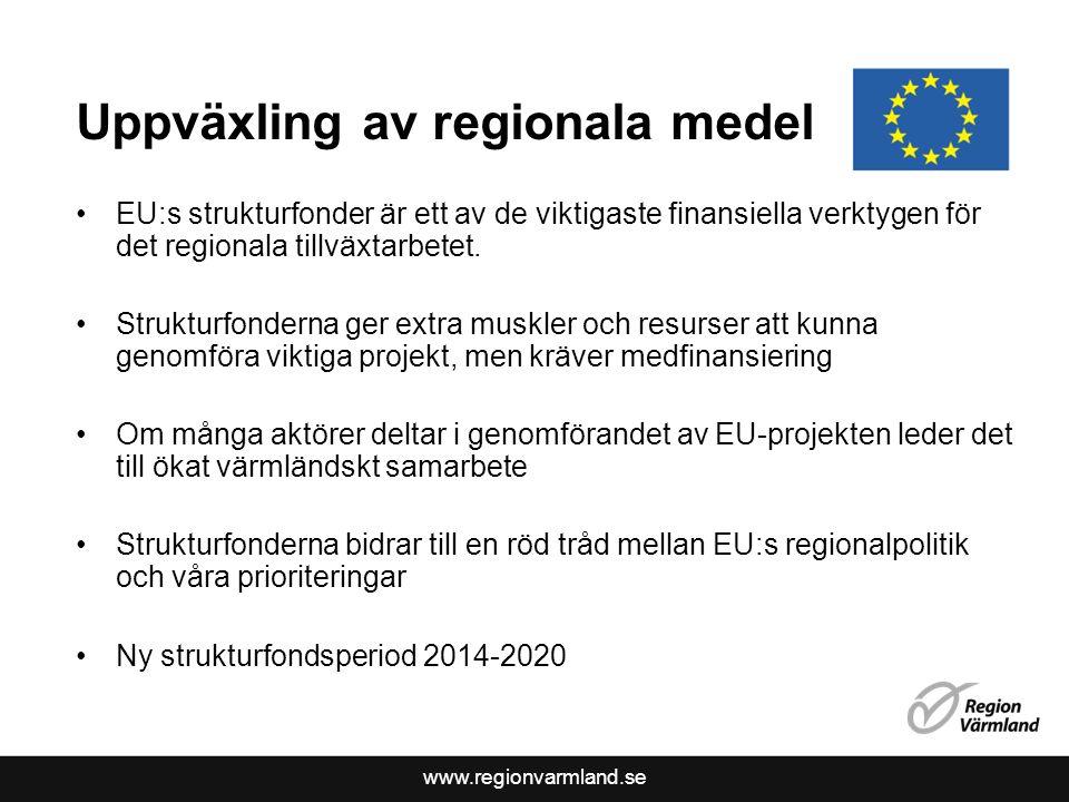 www.regionvarmland.se Uppväxling av regionala medel EU:s strukturfonder är ett av de viktigaste finansiella verktygen för det regionala tillväxtarbetet.