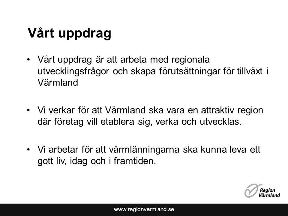 www.regionvarmland.se Vårt uppdrag Vårt uppdrag är att arbeta med regionala utvecklingsfrågor och skapa förutsättningar för tillväxt i Värmland Vi verkar för att Värmland ska vara en attraktiv region där företag vill etablera sig, verka och utvecklas.