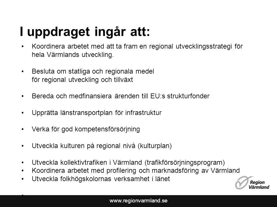 www.regionvarmland.se I uppdraget ingår att: Koordinera arbetet med att ta fram en regional utvecklingsstrategi för hela Värmlands utveckling.