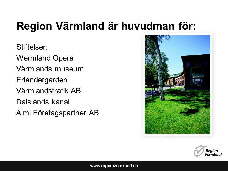 www.regionvarmland.se Region Värmland är huvudman för: Stiftelser: Wermland Opera Värmlands museum Erlandergården Värmlandstrafik AB Dalslands kanal Almi Företagspartner AB