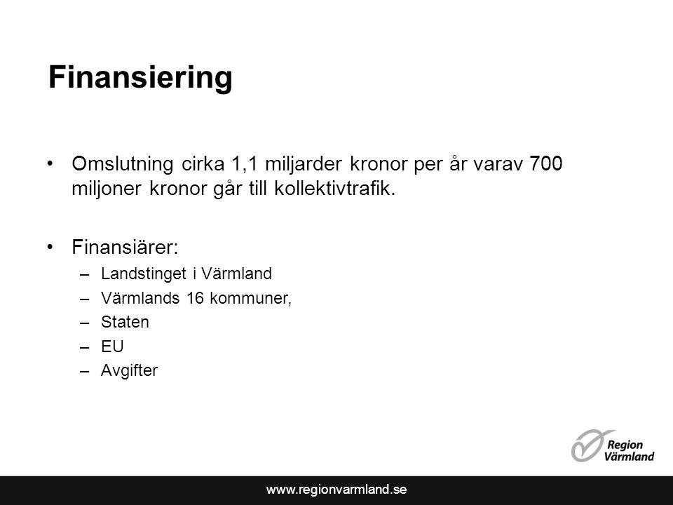 www.regionvarmland.se Finansiering Omslutning cirka 1,1 miljarder kronor per år varav 700 miljoner kronor går till kollektivtrafik.