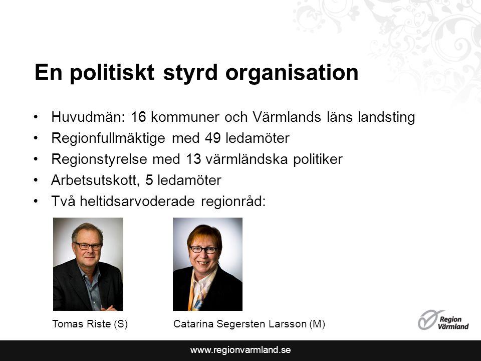 www.regionvarmland.se En politiskt styrd organisation Huvudmän: 16 kommuner och Värmlands läns landsting Regionfullmäktige med 49 ledamöter Regionstyr