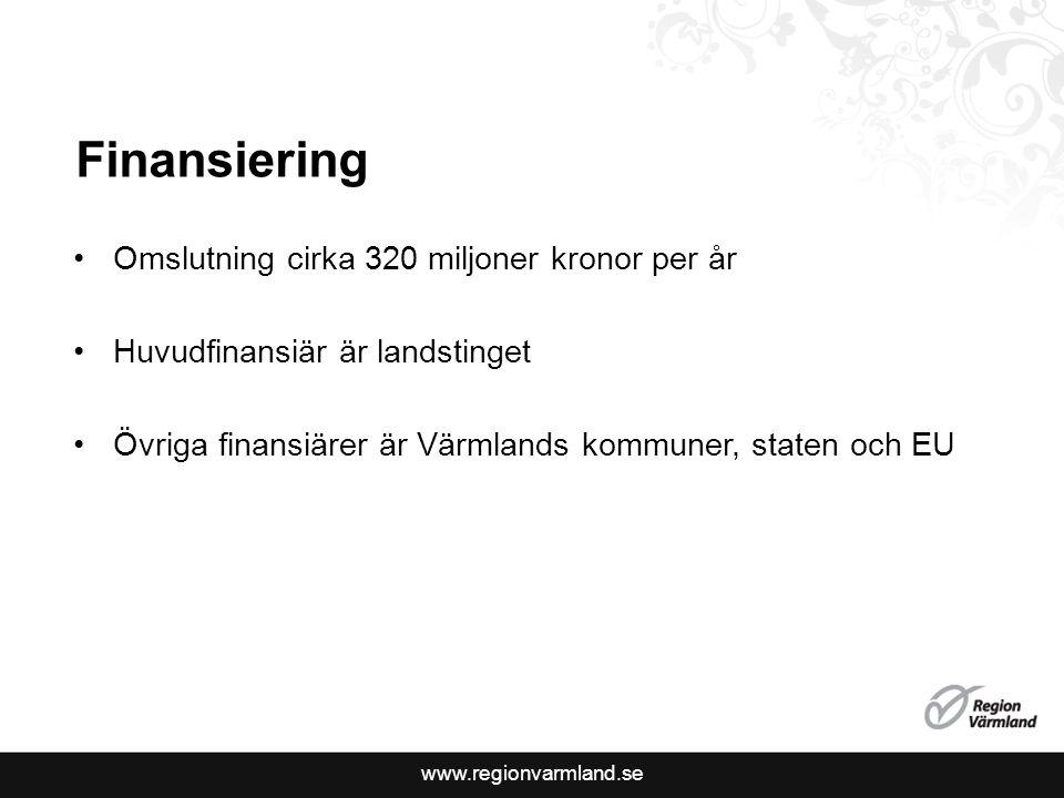 Finansiering Omslutning cirka 320 miljoner kronor per år Huvudfinansiär är landstinget Övriga finansiärer är Värmlands kommuner, staten och EU