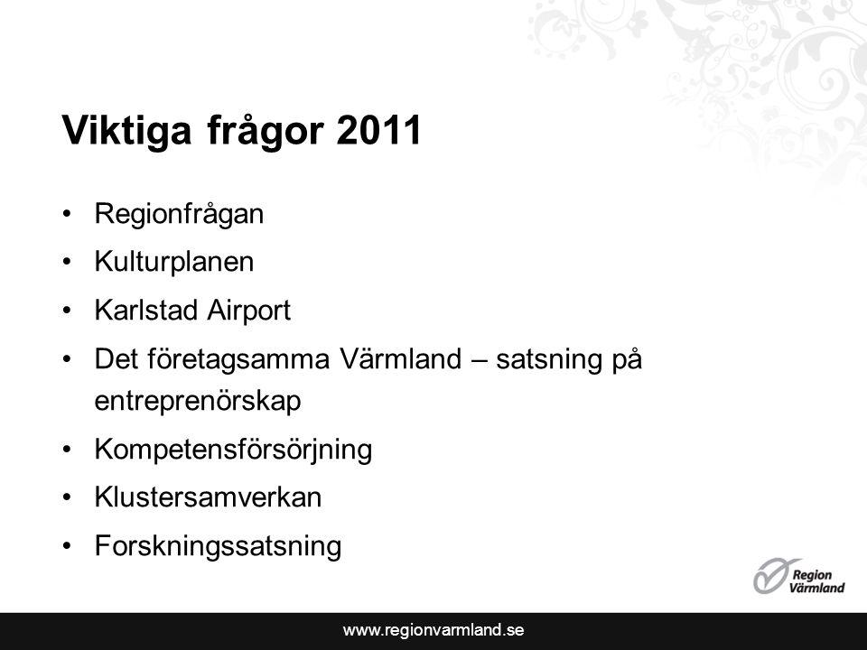 www.regionvarmland.se Viktiga frågor 2011 Regionfrågan Kulturplanen Karlstad Airport Det företagsamma Värmland – satsning på entreprenörskap Kompetens