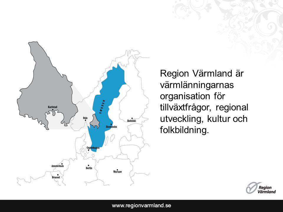 www.regionvarmland.se Region Värmland är värmlänningarnas organisation för tillväxtfrågor, regional utveckling, kultur och folkbildning.