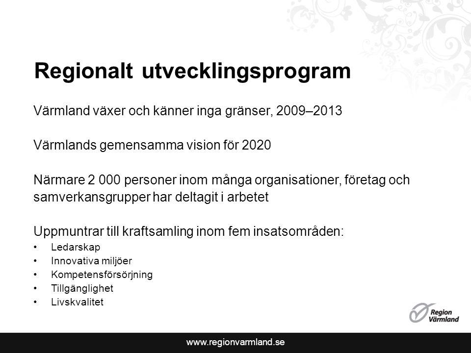 www.regionvarmland.se Regionalt utvecklingsprogram Värmland växer och känner inga gränser, 2009–2013 Värmlands gemensamma vision för 2020 Närmare 2 00