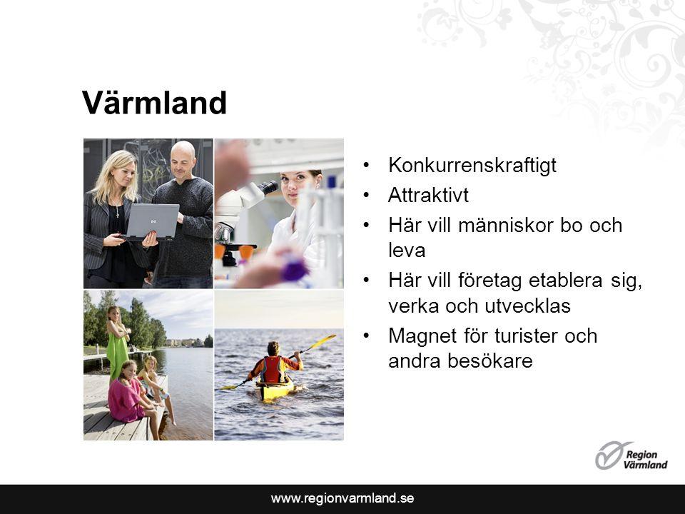 www.regionvarmland.se Värmland Konkurrenskraftigt Attraktivt Här vill människor bo och leva Här vill företag etablera sig, verka och utvecklas Magnet