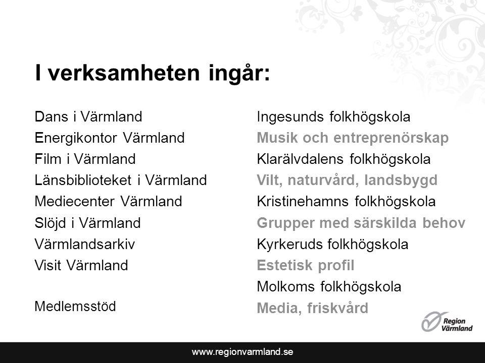 www.regionvarmland.se I verksamheten ingår: Dans i Värmland Energikontor Värmland Film i Värmland Länsbiblioteket i Värmland Mediecenter Värmland Slöj