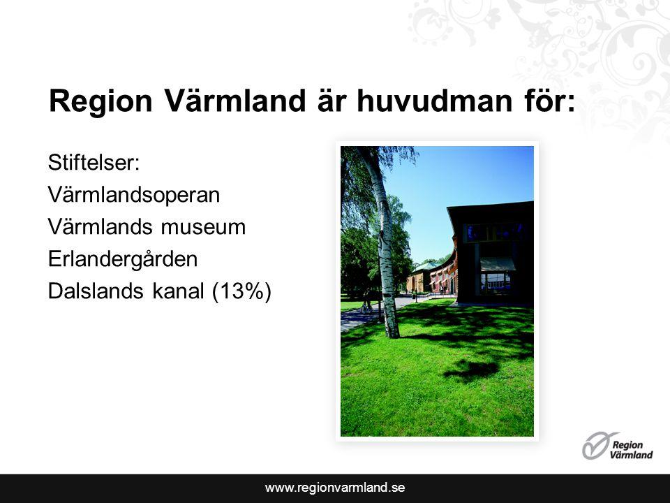www.regionvarmland.se Region Värmland är huvudman för: Stiftelser: Värmlandsoperan Värmlands museum Erlandergården Dalslands kanal (13%)
